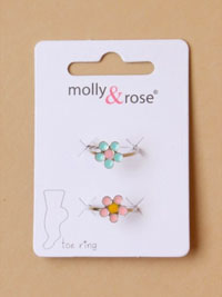 Toe Ring / 2pk Silv toe rings with coloured daisies.