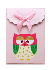 Clearance / Owl gift box with velcro top. 10.5x7.5x4cm