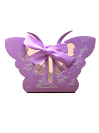 gift Box / Lilac glitter butterfly favour box. 6.5x10x3cm