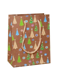Xmas Gift bag / Brown gift bag with Xmas tree design