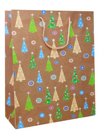 Xmas Gift bag /Brown gift bag with Xmas tree design