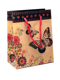 Gift Bag / Natural brown gift bag with bfly print 20x15x6cm