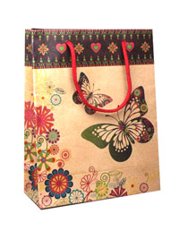 Gift Bag / Natural gift bag with butterfly print 24x19x8cm
