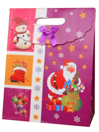 Xmas /  Christmas print purple gift bag/box. Velcro flap