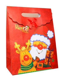 Large Christmas Santa print gift box with velcro fastener.