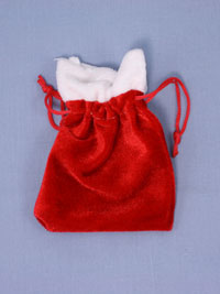 Xmas / Red Christmas santa sack gift bag. 8x6cm