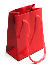 Gift Bag /10x8x4.5cm. Glossy red gift bag.