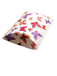 Pillow Pack / White butterfly print pillow pack. 9x8x3cm