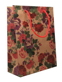 Gift Bag / Natural brown gift bag with floral print 23x18x9c