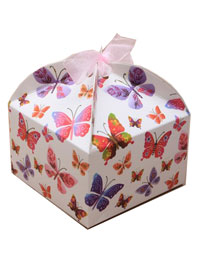 Gift Box /  8x8x5cm Square Butterfly ribbon tie gift box.