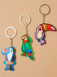 Keyring / Brightly coloured plastic parrot / Toucan keyring.