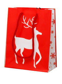 Xmas / Glossy Red Christmas Gift bag with white reindeer
