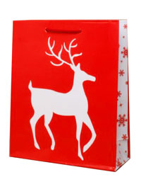 Xmas /  Glossy Red Reindeer gift bag