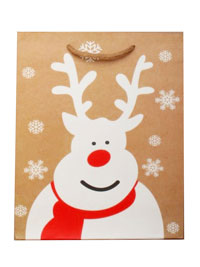 Xmas / Brown gift bag with white reindeer print. 22x18x7cm