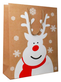 Xmas / Brown gift bag with white reindeer and snowflake.