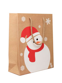 Xmas / Brown gift bag with snowman print.