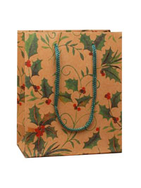 Xmas / Holly print natural brown gift bag with cord handle.