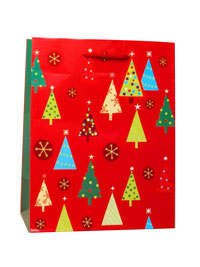 Xmas / Glossy red Christmas gift bag with tree decoration