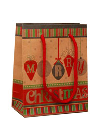 Xmas Gift Bag / Merry Christmas bauble print
