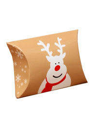 Xmas / Christmas Reindeer Pillow pack box. 6.8x6x2.5cm.