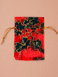 Xmas / Red Organza gift bag with Holly print. 10x7cm.
