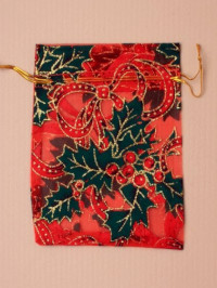Xmas / Red organza bags with Holly print 15x11cm