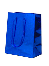 Gift Bag / Blue holographic foil gift bag. 14x11x6.5cm.