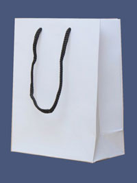 Gift Bag / Matt white gift bag with black handles 15x12x6cm.