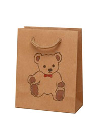 Gift Bag /14.5x11.5x6cm Natural gift bag with Teddy bear.
