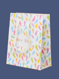 Gift Bag / New Baby pastel footprint Gift bag. 15x12x6cm.