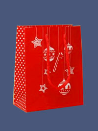 Xmas / Red Christmas gift bag with White bauble and star