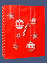 Xmas / Red Christmas gift bag with white bauble and star.