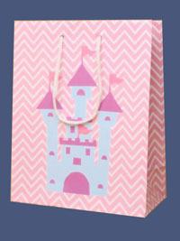 Gift Bag / Pink gift bag with Princess castle. 23x18x9cm.