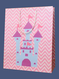 Gift Bag / Pink gift bag with Princess castle. 32x26x10cm.