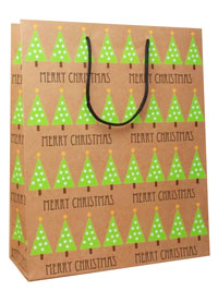 Xmas / Brown gift bag with Green Christmas tree design.