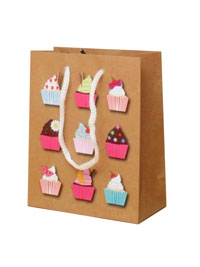 Gift Bag / Brown Cupcake print gift bag. 15x12x6cm.