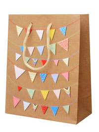 Gift Bag / Coloured bunting gift bag. 22x18x7cm.
