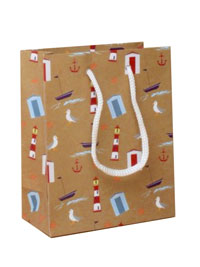 Gift Bag /Nautical themed printed brown gift bag 15x12x6cm