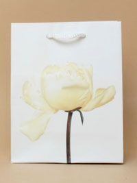 Gift Bag / White flower print gift bag. 15x12x6cm.