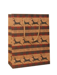 Xmas /  Merry Christmas reindeer print brown kraft paper bag