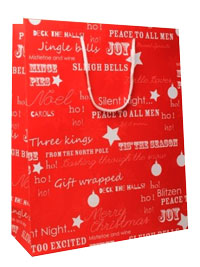 Xmas /Red Xmas gift bag with white writing