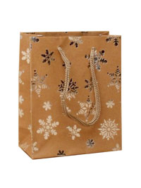 Xmas Gift Bag / Brown Paper with foil snowflake. 15x12x6cm.