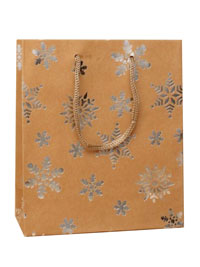 Xmas Gift Bag / Brown Paper with foil snowflake