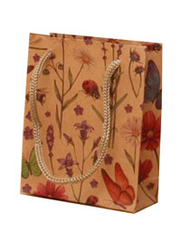 Gift Bag / Brown Paper Country flowers design. 12x10x4cm.