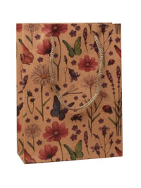 Gift Bag / Brown Paper Country flowers design. 20x15x6cm.