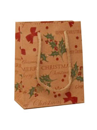 Xmas / Merry Christmas natural brown kraft paper gift bag.