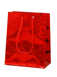 Gift Bag / Red holographic foil gift bag.