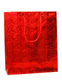 Gift Bag / Red holographic foil gift bag. 21.5x18x7.5cm