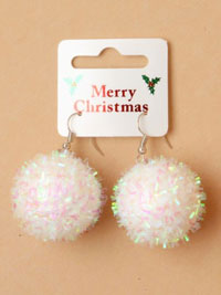 Xmas / Pair of White Christmas snowball earrings.