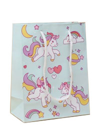 Gift Bag / Unicorn and rainbow printed gift bag.